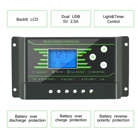 PowMr Solar Charger Controller Regulator 12V/24V 30A with Time Control for Solar Panel - Z30 - Black - 7