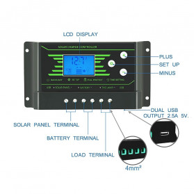 PowMr Solar Charger Controller Regulator 12V/24V 30A with Time Control for Solar Panel - Z30 - Black - 8