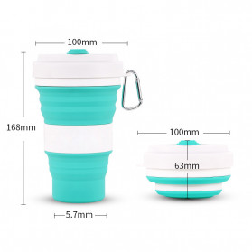 ACEBON Gelas Lipat Silikon Foldable Travel Mug 550ml - GY500 - Black - 6