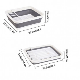 Waasoscon Rak Pengering Dapur Piring Gelas Foldable Collapsible Drainer - QW-823 - Gray - 5