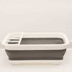 Waasoscon Rak Pengering Dapur Piring Gelas Foldable Collapsible Drainer - QW-823 - Gray - 6