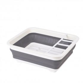 Waasoscon Rak Pengering Dapur Piring Gelas Foldable Collapsible Drainer - QW-823 - Gray - 7
