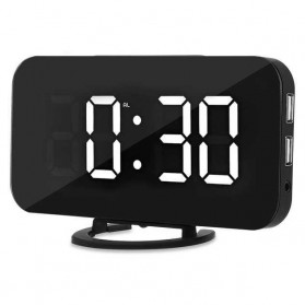 Famirosa Jam Meja LED Digital Clock Adjustable Brightness Light Sensor USB - C001 - White