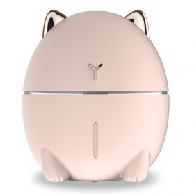 Taffware Dudu Cat Ultrasonic Air Humidifier Aromatherapy Night Light 200ml - HUMI DDM-1 - Pink