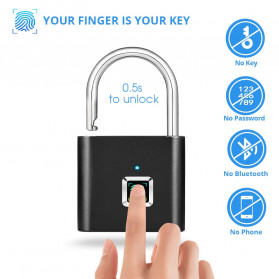 KERUI Gembok Koper Rumah Smart Fingerprint Padlocks - GSWLS01 - Black
