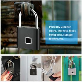 KERUI Gembok Koper Rumah Smart Fingerprint Padlocks - GSWLS01 - Black - 2