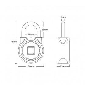 OKLOK Gembok Koper Rumah Smart Fingerprint Padlock iOS Android APP Control - PB50 - Blue - 7