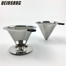 Ueinsang Filter Penyaring Kopi V60 Cone Coffee Filter Dripper Double Layer Extra Large - F-404T - Silver - 2