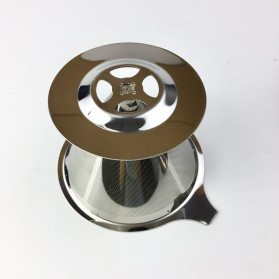 Ueinsang Filter Penyaring Kopi V60 Cone Coffee Filter Dripper Double Layer Extra Large - F-404T - Silver - 5