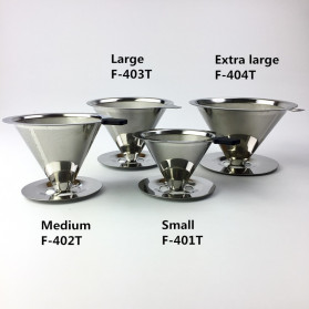 Ueinsang Filter Penyaring Kopi V60 Cone Coffee Filter Dripper Double Layer Extra Large - F-404T - Silver - 7