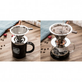Ueinsang Filter Penyaring Kopi V60 Cone Coffee Filter Dripper Double Layer Extra Large - F-404T - Silver - 8