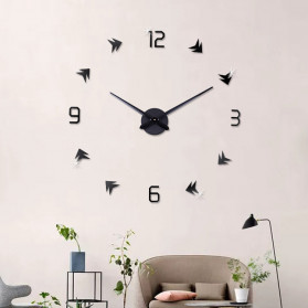 Jam Dinding DIY Giant Wall Clock Quartz Creative Design - DA01 - Black