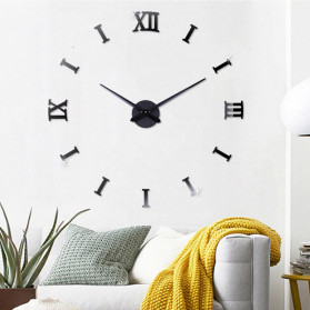 Jam Dinding DIY Giant Wall Clock Quartz Creative Design - DA04 - Black