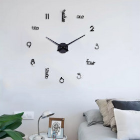 Jam Dinding DIY Giant Wall Clock Quartz Creative Design - DA05 - Black