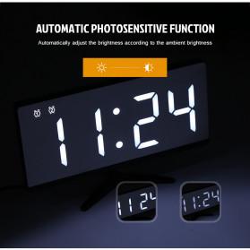 LUMINOVA Jam Meja LED Digital Mirror Clock with Temperature - DS3618L - White - 8