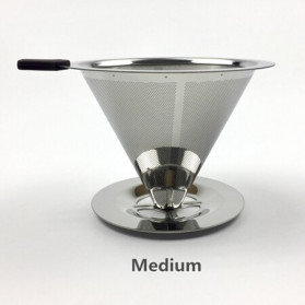 Ueinsang Filter Penyaring Kopi V60 Cone Coffee Filter Dripper Double Layer Medium - F-401T - Silver