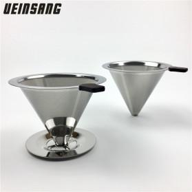 Ueinsang Filter Penyaring Kopi V60 Cone Coffee Filter Dripper Double Layer Medium - F-401T - Silver - 2