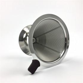 Ueinsang Filter Penyaring Kopi V60 Cone Coffee Filter Dripper Double Layer Medium - F-401T - Silver - 4