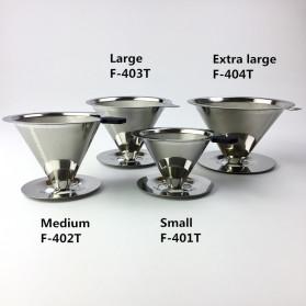 Ueinsang Filter Penyaring Kopi V60 Cone Coffee Filter Dripper Double Layer Medium - F-401T - Silver - 7