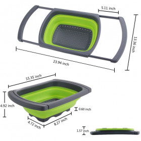 AsyPets Rak Bak Cuci Sayur Foldable Collapsible Drainer - JY748 - Green - 8