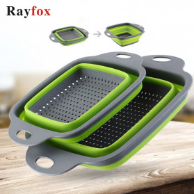 Rayfox Keranjang Saringan Lipat Drain Basket Foldable Collapsible Size S - DP0155 - Green