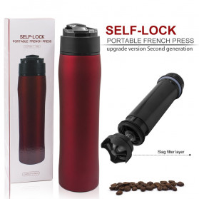 Self-Lock Botol Minum Kopi Portable French Press Coffee Maker 350ml - B46 - Black