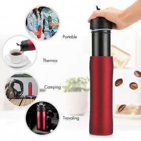 Self-Lock Botol Minum Kopi Portable French Press Coffee Maker 350ml - B46 - Black - 2