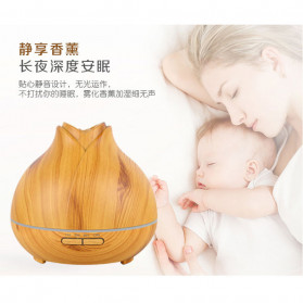XProject Ultrasonic Humidifier Aroma Essential Oil Diffuser Wood Design 400ml - J-009 - Wooden - 3