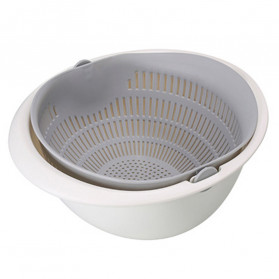 Asy Baskom Saringan 2 layer Double Drain Basket Bowl Kitchen Strainer - DP137 - Gray/White