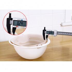 Asy Baskom Saringan 2 layer Double Drain Basket Bowl Kitchen Strainer - DP137 - White - 3