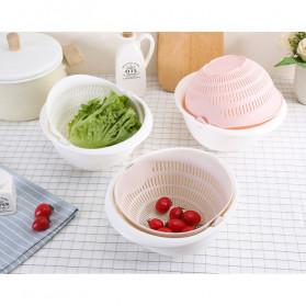 Asy Baskom Saringan 2 layer Double Drain Basket Bowl Kitchen Strainer - DP137 - White - 4