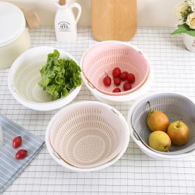 Asy Baskom Saringan 2 layer Double Drain Basket Bowl Kitchen Strainer - DP137 - White - 5