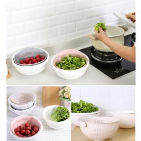 Asy Baskom Saringan 2 layer Double Drain Basket Bowl Kitchen Strainer - DP137 - White - 7