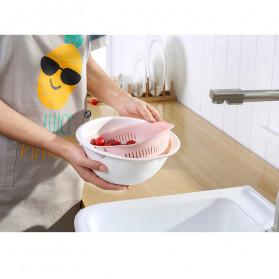 Asy Baskom Saringan 2 layer Double Drain Basket Bowl Kitchen Strainer - DP137 - White - 8