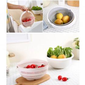 Asy Baskom Saringan 2 layer Double Drain Basket Bowl Kitchen Strainer - DP137 - White - 9