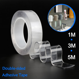 SzGlue Double Tape Perekat Transparent No Trace Washable Sticker (3 x 0.1 cm) 1 Meter - J007 - Transparent