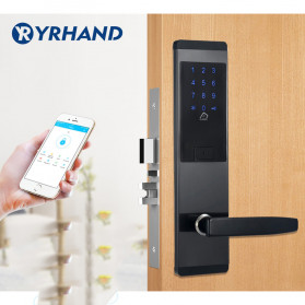 YRHAND Gagang Pintu Elektrik Intelligent Password Tapping Key Card Bluetooth Smartphone App Door Unlock Right Open - T20-S - Black