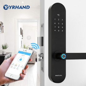 YRHAND Gagang Pintu Elektrik Intelligent Biometric Fingerprint APP Unlock Left Open - YRD6BL - Black