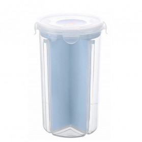 FUNIQUE Toples Wadah Penyimpanan Beras Sereal Oats Storage Jar 4 Slot Large Size - FSC1 - Blue