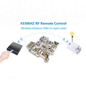 SMATRUL Saklar Lampu Wireless Switch RF 433Mhz 2 Button with 2 PCS Receiver - WHK01 - Black - 10