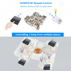SMATRUL Saklar Lampu Wireless Switch RF 433Mhz 2 Button with 2 PCS Receiver - WHK01 - Black - 5