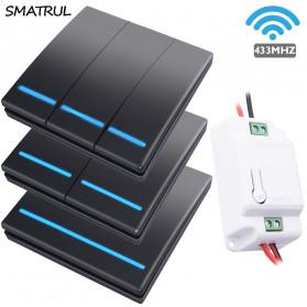 SMATRUL Saklar Lampu Wireless Switch RF 433Mhz 3 Button with 3 PCS Receiver - WHK01 - Black - 2