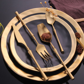 Lingeafey Pisau Western Gold Tableware Cutlery Knife - C50 - Golden - 2