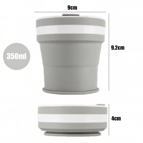 ACEBON Gelas Cangkir Lipat Silikon Foldable Travel Mug 350ml - GY900 - Gray - 8