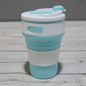 Gelas & Mug - ACEBON Gelas Cangkir Lipat Silikon Foldable Travel Mug 350ml - GY520 - Blue
