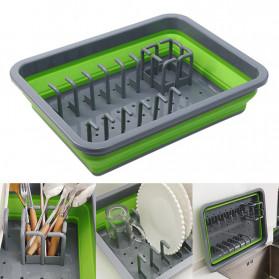 AsyPets Rak Pengering Dapur Piring Gelas Foldable Collapsible Drainer - JY749 - Green