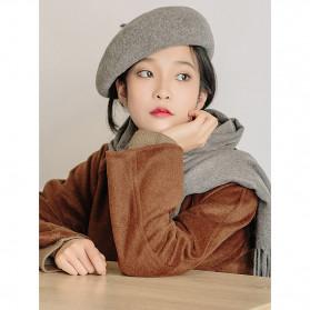 MAKEFGE Topi Baret Wanita Wool Gaya French Retro - BC48 - Black - 7