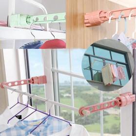 Hanger Gantungan Baju Indoor Window Frame Drying Rack Five hole - LR800 - Blue - 5