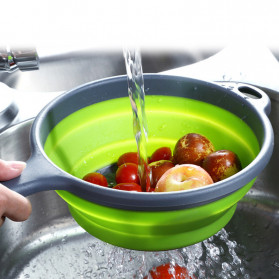 AsyPets Baskom Saringan Lipat Drain Basket Foldable Collapsible Silicone - CLZ002 - Green - 3