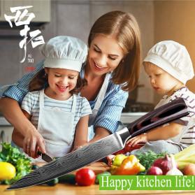 XITUO Pisau Dapur Chef Damascus Pattern - 7 Inch Cleaver Knife - Silver - 12